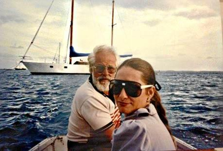 Julie and her late husband Paul durinig their 10-year sailing adventure.