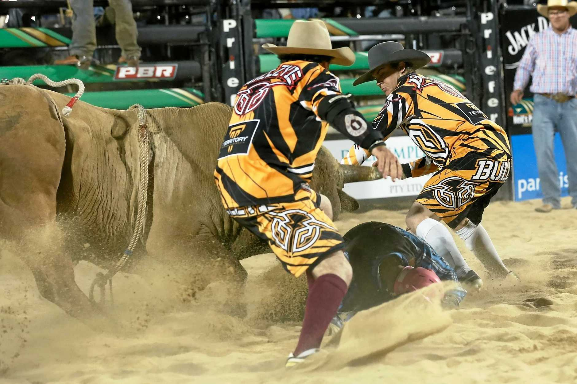 PBR protection athlete Kerry Whitehouse puts his body on the line to protect bull riders in the arena.