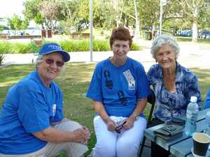 Walk founder Julie McCusker (centre) with sisters Shirley Crampton (left) and Ngari Walford take part in the first Walk to d'feet MND at Tweed Heads.