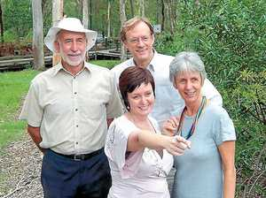Flashback to February 2005: Laurie Jeays of the Boondall to Tinchi Tamba Branch of the Wildlife Preservation Society Queensland, Deagon Ward Councillor Victoria Newton, Deputy Mayor Councillor David Hinchliffe and Environment and Sustainability chairperson Councillor Helen Abrahams at the recent announcement that the western extension will be included in the Boondall Wetlands.