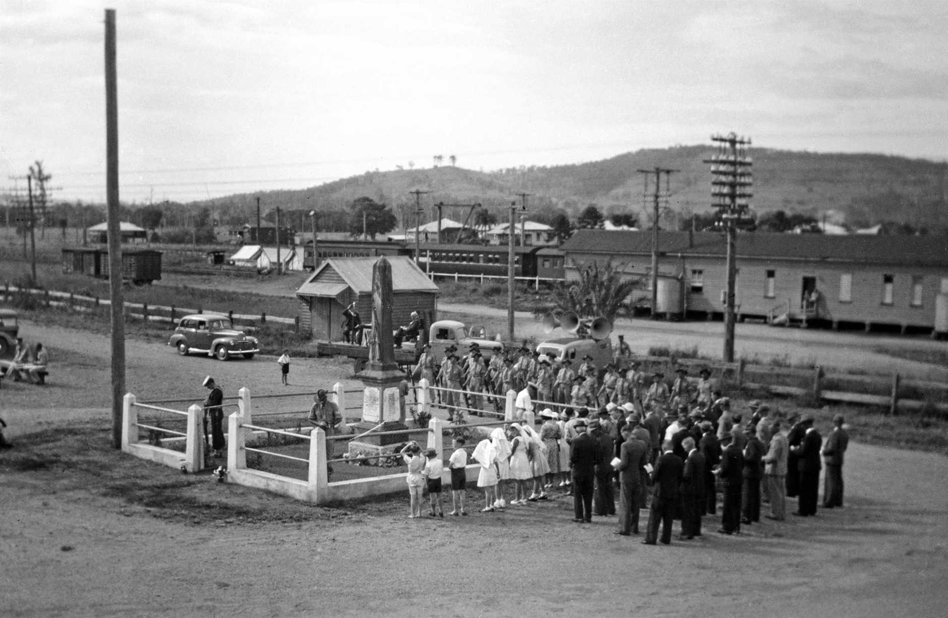 Anzac Day service at the War Memorial, Yandina, 1940s.