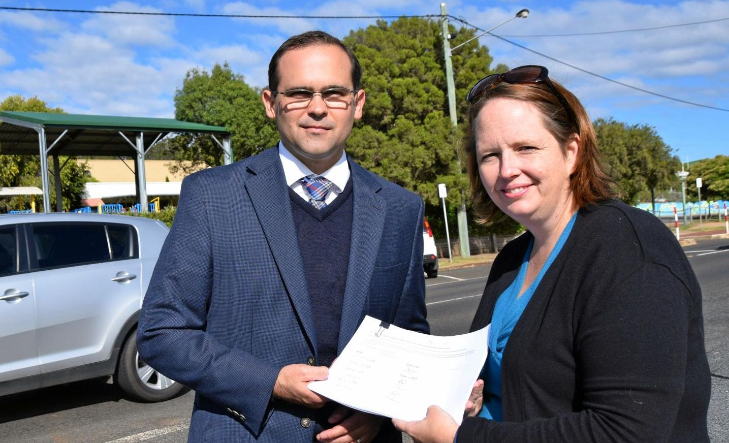 Melissa Greenhill and David Janetzki out the front of Glenvale State School.