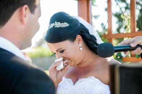 TENDER WORDS: Jamie-Lee Denton gets emotional stating her vows,