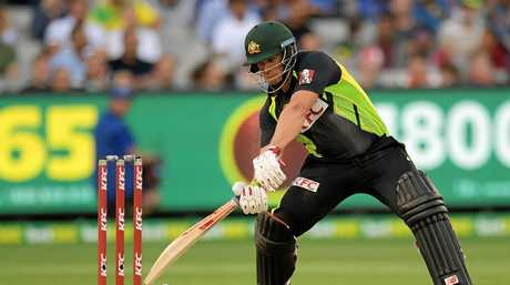 Australia's Aaron Finch batting during a T20 International against Sri Lanka in February.