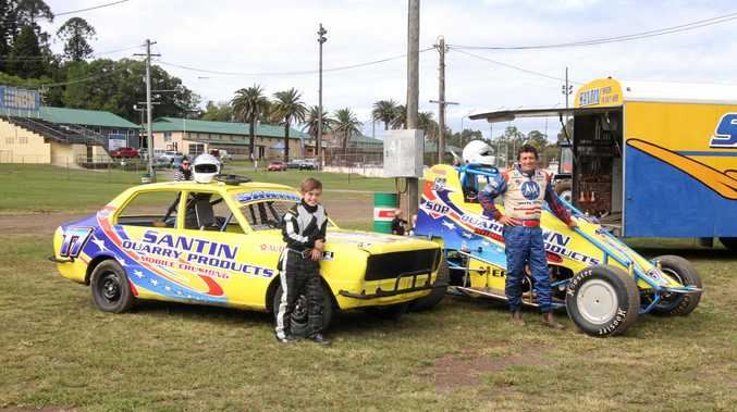 Father and son Mick and Jaiden Santin will race at Lismore Speedway tonight. Mick is one of the leading contenders in the Driver to America Wingless Sprintcar Series, while Jaiden will compete in the Junior Sedan races. PHOTO: TONY POWELL