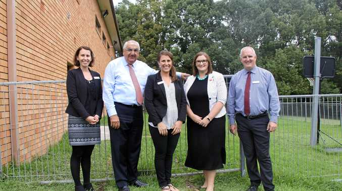 SCHOOL'S IN: Sarah Mitchell MLC, Minister for Early Childhood, visited Our Lady Help of Christians School in South Lismore to announce funding for before and after school care. L-R Katie Rose assistantprincipal, Thomas George, Anita Mitchell, Sarah Mitchell and principal Brendan Moloney.