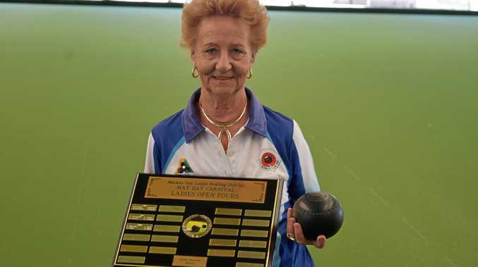 Mackay City Ladies Bowling Club president Maria Atkins with the Marie Gravino Shield, which will be contested this weekend.