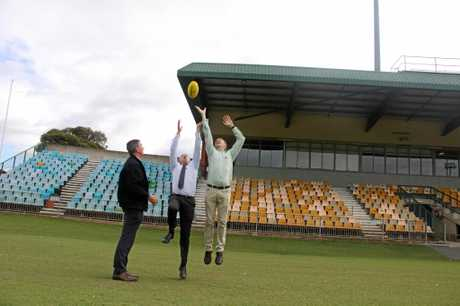 ON THE BALL: Lismore Council's general manager Gary Murphy, Member for Page Kevin Hogan and mayor Isaac Smith welcomed the fast tacking of $3M upgrade funding for Oakes Oval.