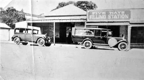 FILL 'ER UP: The Five Ways Filling Station picture was taken not long after it was purchased by then Gympie funeral director Jack Cornes in 1928. Photographer Max Krogh says he is not sure who took the picture, but believes it was taken about 1930.