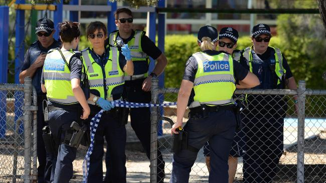 Police at a Victorian school after a bomb hoax in 2016. Picture: David Smith
