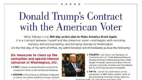 Donald Trump released his two-page 'Contract with the American Voter' in October.