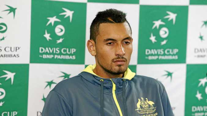 Nick Kyrgios of Australia speaks to the media.