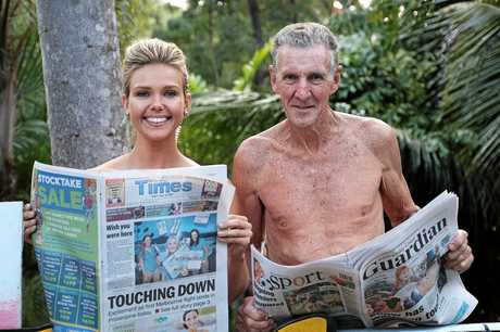 Channel 7's Sunrise presenter Edwina Bartholomew with Taylorwood Nudist Resort owner Rogin Taylor when Sunrise was in the Whitsundays in 2015.