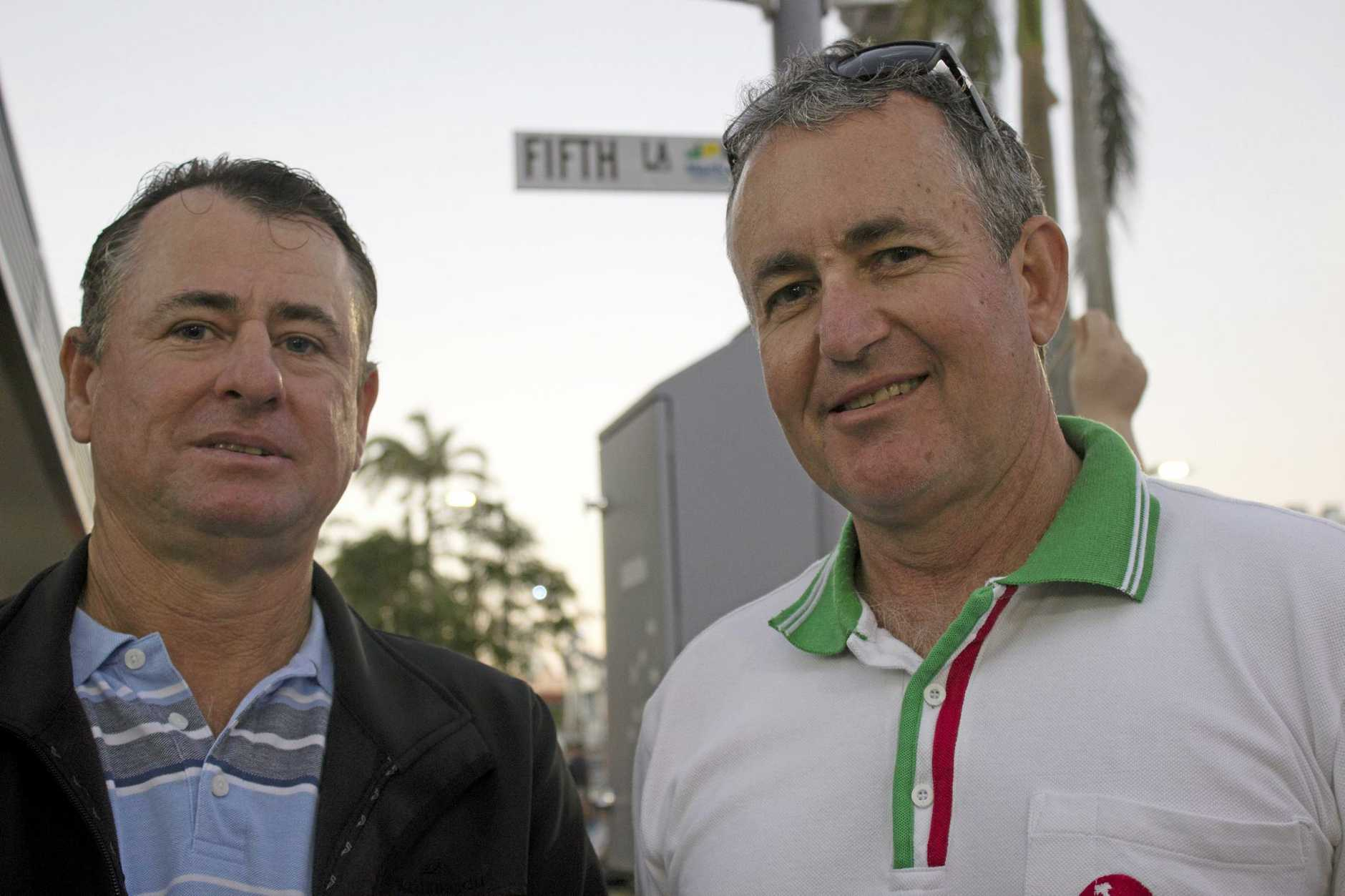 Ian Cameron (left) and Chris Bonanno supervise the northern end of Wood Street.