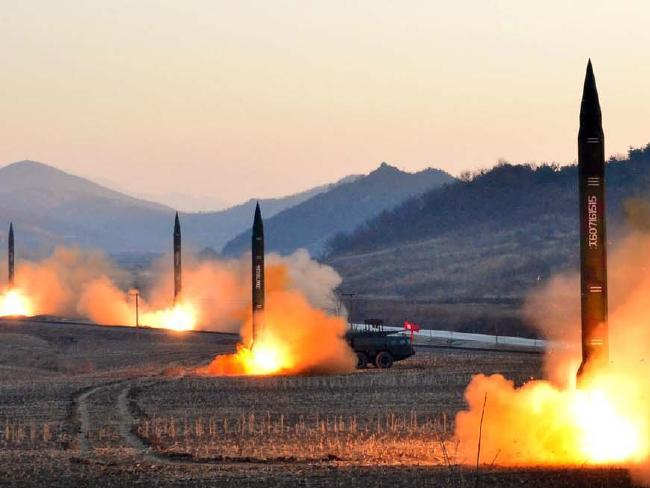 North Korea launches four ballistic missiles by the Korean People's Army (KPA) during a military drill at an undisclosed location in North Korea.