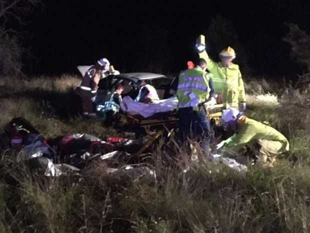 The Toowoomba based RACQ LifeFlight Rescue helicopter was diverted whilst en route to Chinchilla on an Inter Hospital transfer to a car accident near Cecil Plains west of Toowoomba at 10pm Saturday evening.
