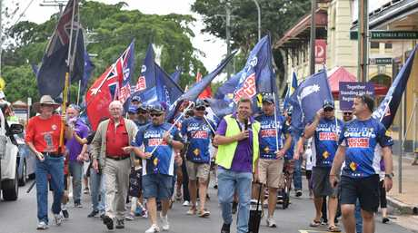 Labour Day marchers make their way along Bazaar St. in Maryborough.