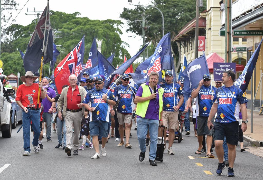 Labour Day marchers make their way along Bazaar St. in Maryborough.