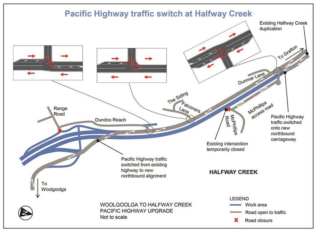 The Pacific Hwy traffic switch at Halfway Creek.