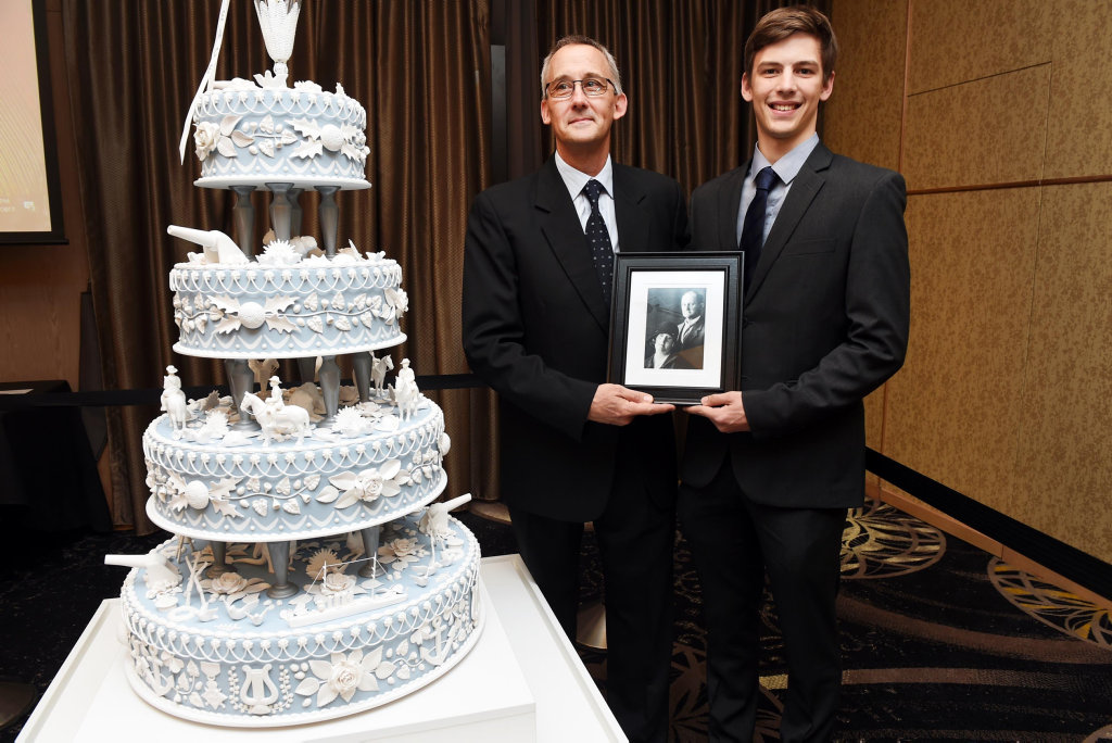 Peace Cake Charity Ball, Maryborough RSL - The Grandson and Great Grandson of Bernard 'Bert' Stellmach were humbled by the unveiling. John and Andrew Titmarsh.