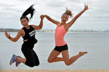 Biggest Loser: Transformed contestant Nikki Henderson with her trainer Libby Babet at Mooloolaba Beach.