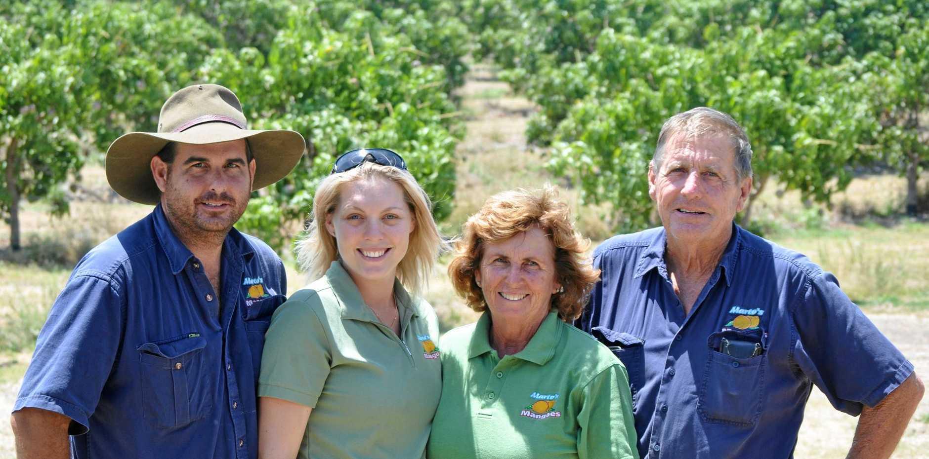 Bowen based mango orchard Marto's Mangoes, owned by the Martin family. Ben Martin (left), Ash-lei Martin, Bernadette Martin and Gary Martin.