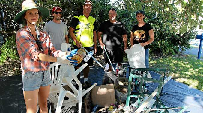 DISGUSTING: Ocean Crusaders volunteers removed 127kgs in total from Wurtulla beach in just two hours.