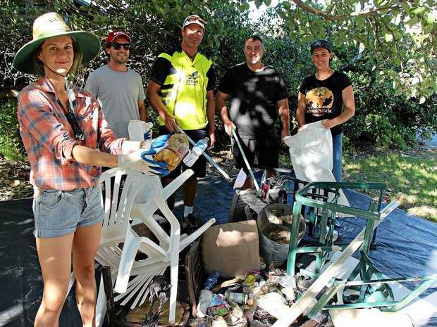 DISGUSTING: Ocean Crusaders volunteers removed 127kgs in total from Wurtulla beach in just two hours.