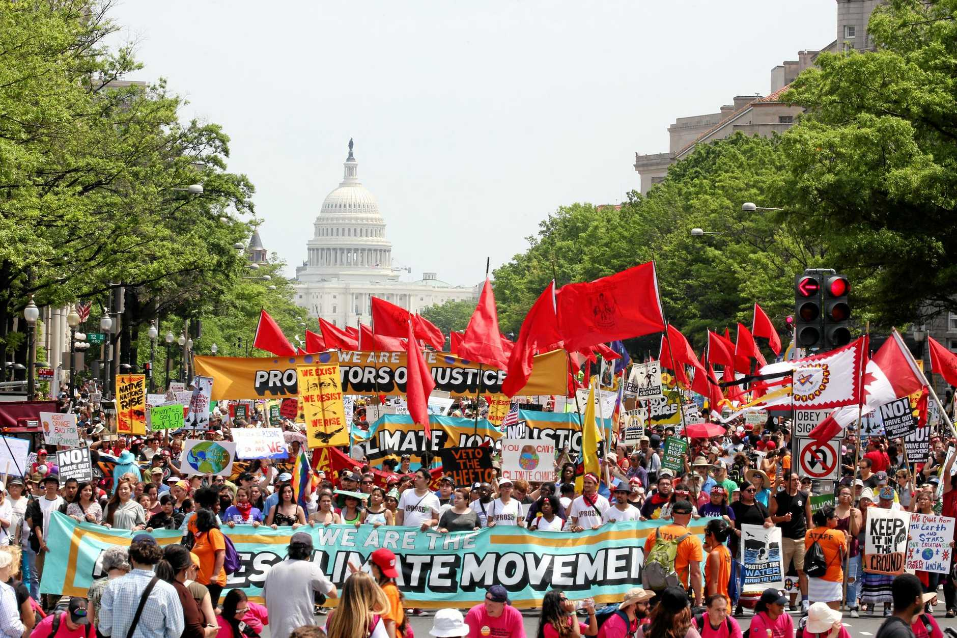 Protesters march from the US Capitol to the White House for the People's Climate March.