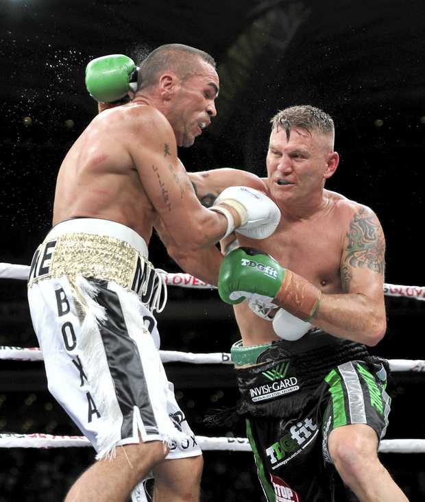 Anthony Mundine and Danny Green during the Boxing fight night between Anthony Mundine and Danny Green at the Adelaide Oval in Adelaide, Friday, Feb. 3, 2017.  (AAP Image/David Mariuz) NO ARCHIVING, EDITORIAL USE ONLY