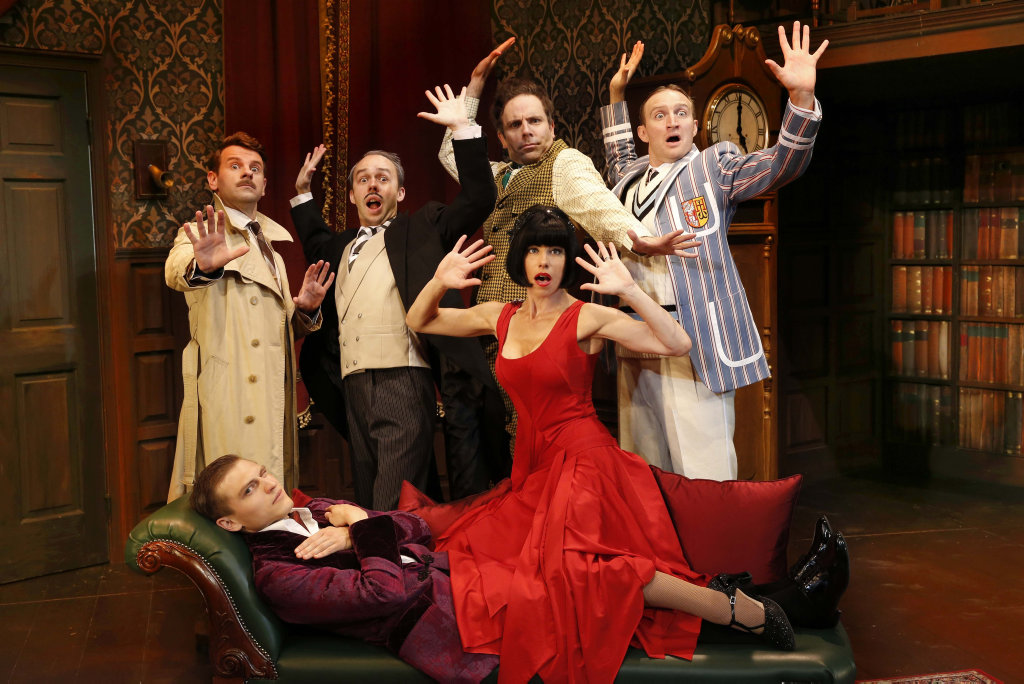 The cast of the Australian production of The Play That Goes Wrong.