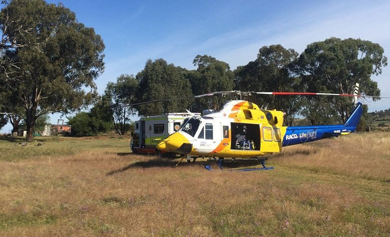 The Toowoomba-based LifeFlight Rescue flew to a property near Warwick this morning.