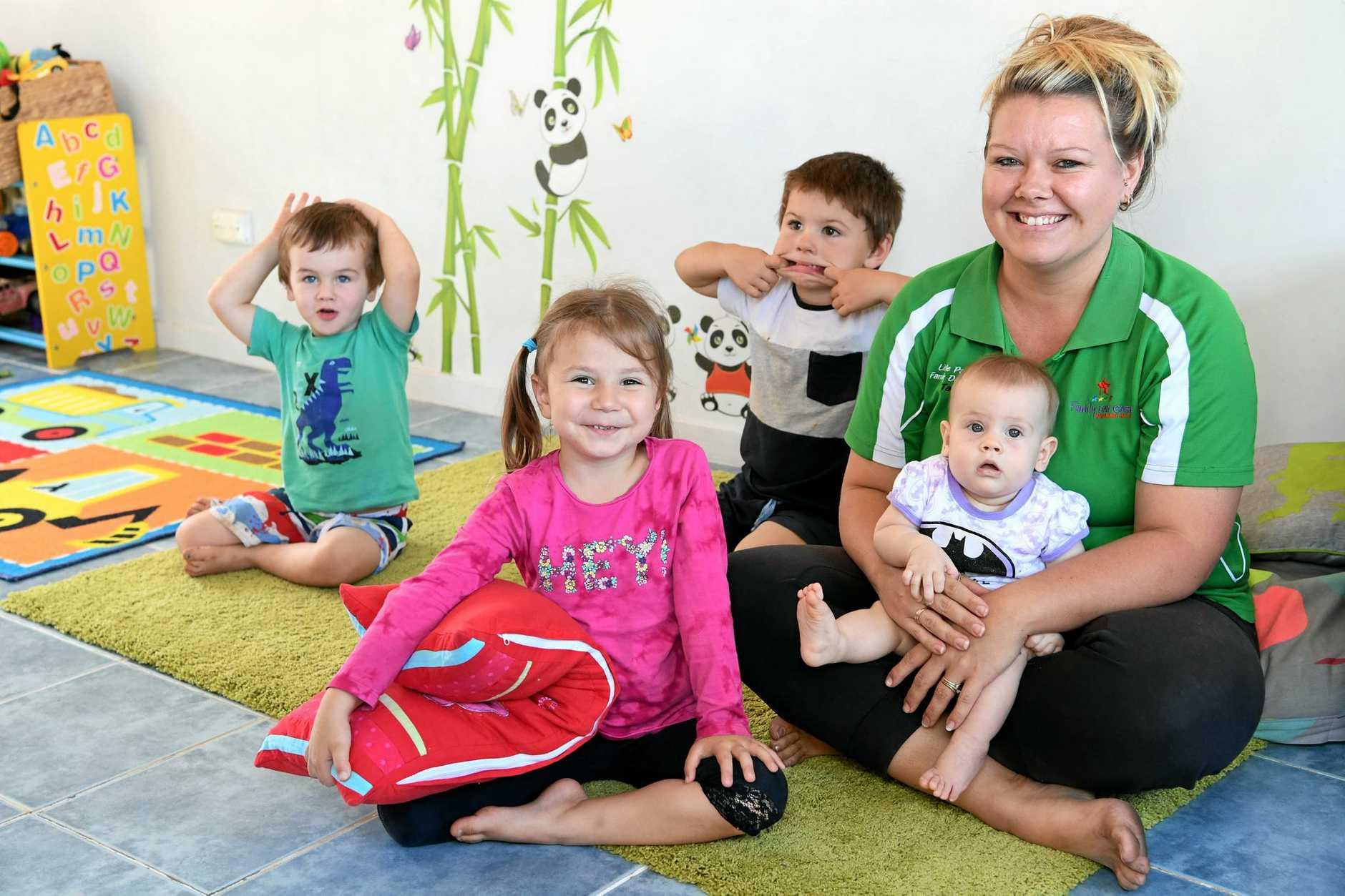 FUN TIMES: Little Panda Family Day Cares Tara Smith with Mason Turnbull, Lylaah Cadeddu, Sonny Smith and Kacey Turnbull.