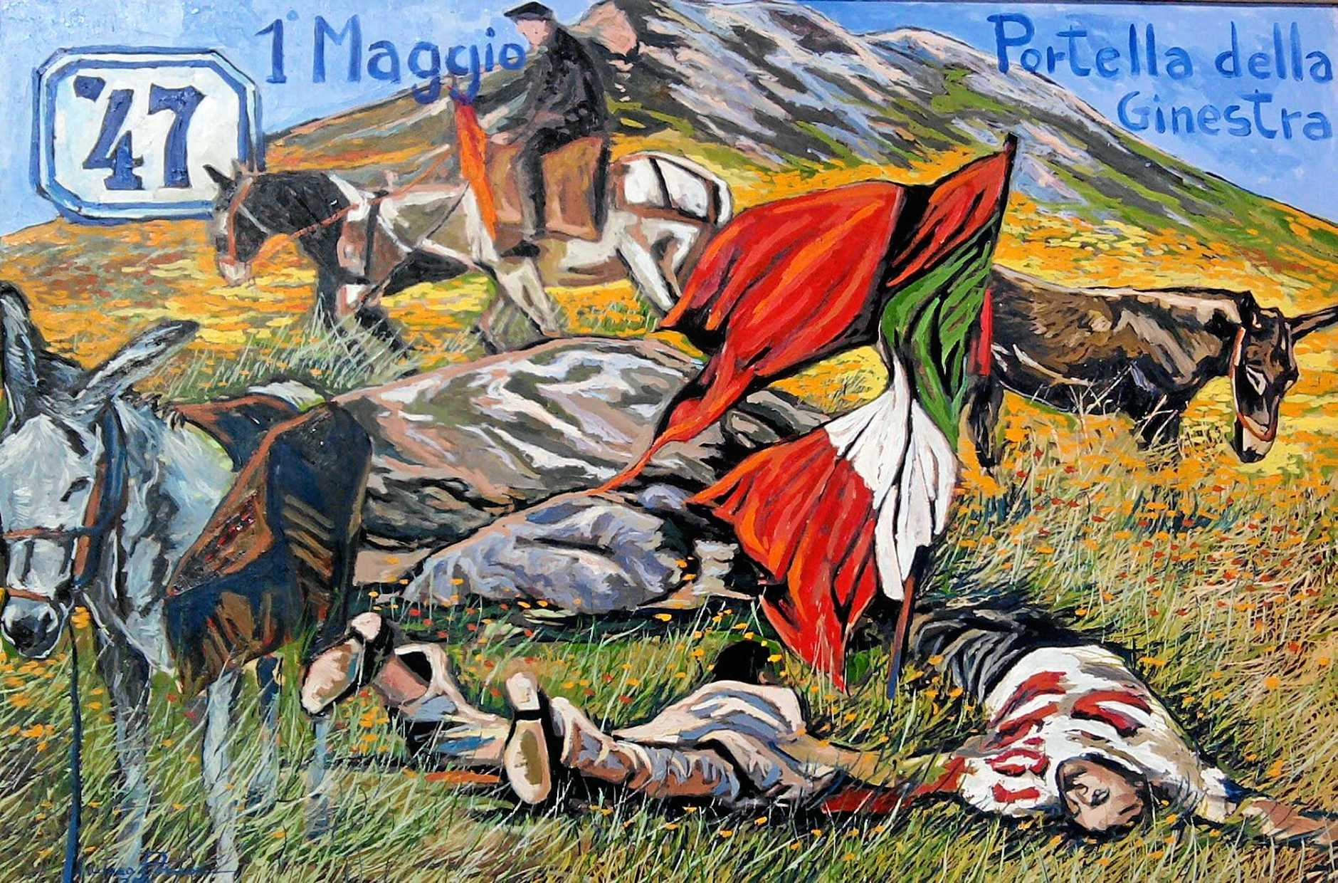 Postcard remembering the murder of workers on May 1, 1947 in Sicily.