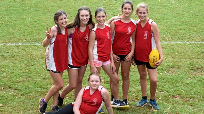 The Under-15 girls team from Cape Byron Rudolf Steiner School at the North Coast Independent Schools touch football gala day.