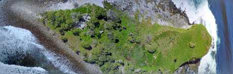 Drone photo of Old Woman Island.