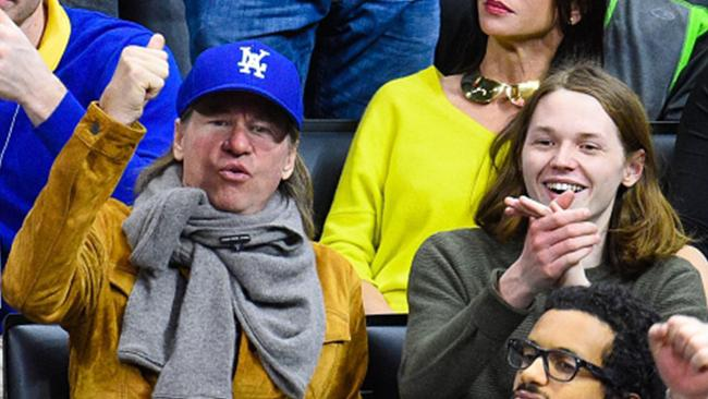 Val Kilmer, left, and his son Jack attend a basketball game in Los Angeles in 2014.