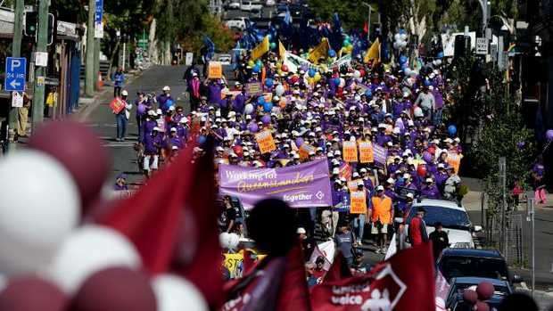 The 2014 Brisbane Labour Day march through Brisbane. Picture: Mark Calleja