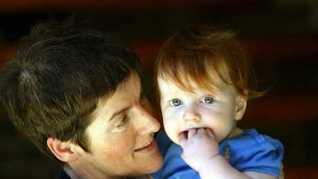 Mary-Rose MacColl with her son in 2003.