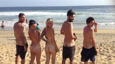 Danielle Ditzian letting it all hang out on Zipolite, the only legal nude beach in Mexico.