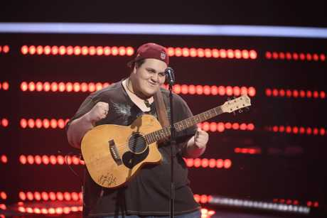 *WARNING EMBARGOED until 9pm Monday May 1* Judah Kelly pictured during his blind audition on The Voice. Supplied by Channel 9.
