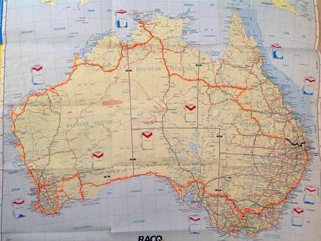GREY NOMADS: A map of the five month road trip that Betty and her companions completed.