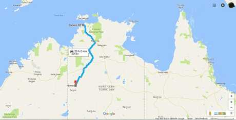 The journey from Suplejack to Darwin is about 1000km.