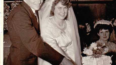 WEDDING DAY: Alex and Val Simmons of Millmerran were married at the St Andrew's Presbyterian Church Millmerran on May 6, 1952.