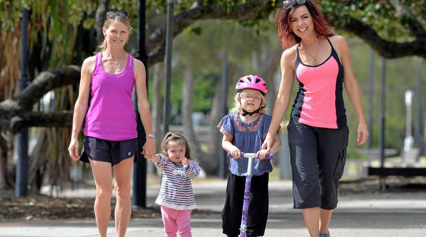 GIVING BACK: Nicole Pederson-McKinnon (right) and her daughter, Darcy, 4, with Anthea Anderson (left), and Elise, 2, are training for the Wishlist Mapleton Challenge.