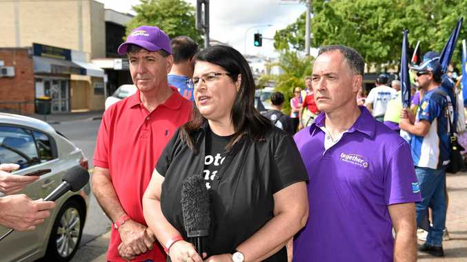 Labour Day marchers make their way along Kent St. (L) Bruce Saunders (state member for Maryborough), Grace Grace (State Min. Employment & Industrial Relations) and Adrian Tantari (Labor candidate for Hervey Bay).