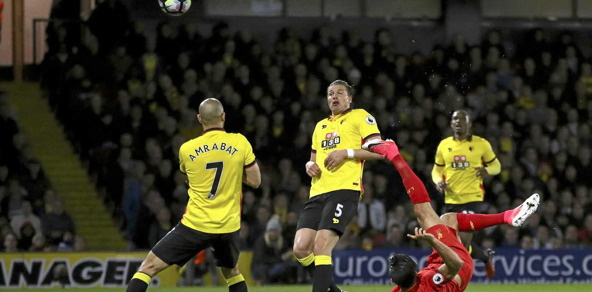 Liverpool's Emre Can scores against Watford.