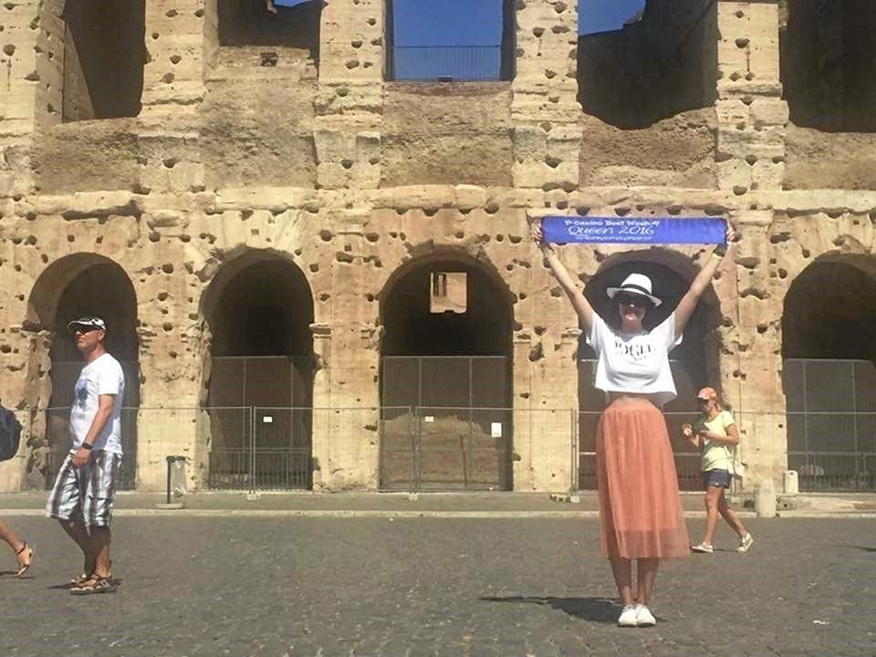 2016's Beef Week Queen in front of the Rome Colosseum.