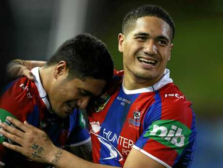Chanel and Sione Mata'utia playing for the Knights in 2014.