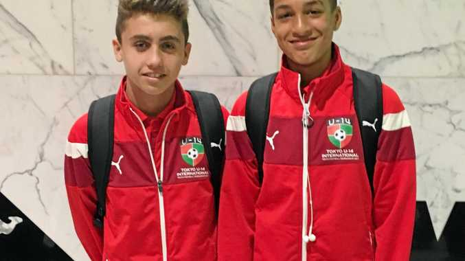 ALL SMILES: Milo Bisogni and Zahi Addis are currently in Japan for under-14 International Youth tournament.